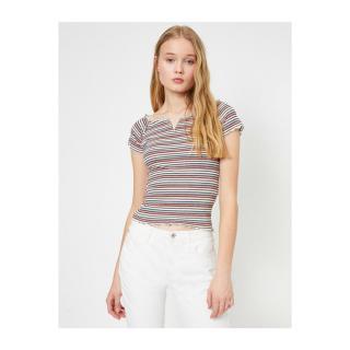 Koton Womens Pink Striped T-shirt dámské Other L