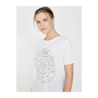 Koton Womens White Crew Neck Short Sleeve T-Shirt dámské White 000 XXL