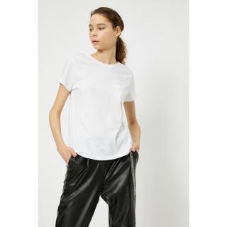 Koton Womens White Pocket Detailed T-Shirt dámské Other XL