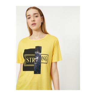 Koton Womens Yellow Sequin Detailed Letter Printed T-Shirt dámské L