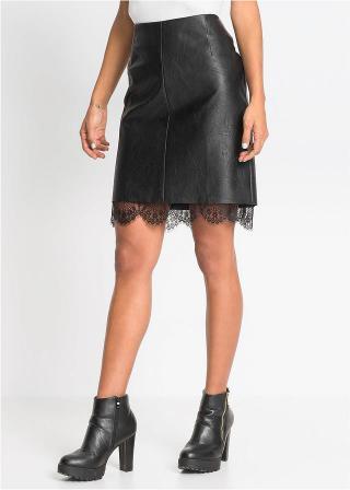 Koženková sukňa s čipkou dámské čierna 40,42,44,46,48,50,52,54,56