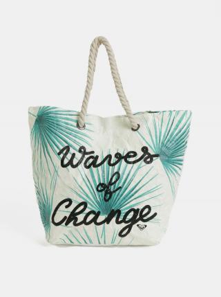 Krémová papierová plážová taška s tropickým vzorom Roxy Waves of Change dámské