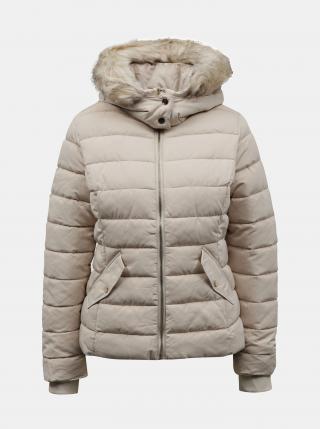 Krémová zimná prešívaná bunda s umelou kožušinkou TALLY WEiJL - XS dámské smotanová XS