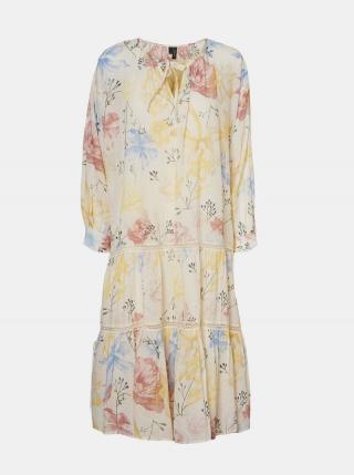 Krémové kvetované šaty VERO MODA Sally dámské krémová M