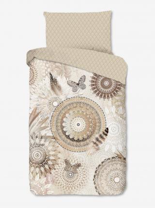 Krémové obojstranné flanelové obliečky na jednolôžko Home Hip Kaskae krémová