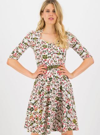Krémové vzorované šaty Blutsgeschwister My garden - M dámské smotanová M