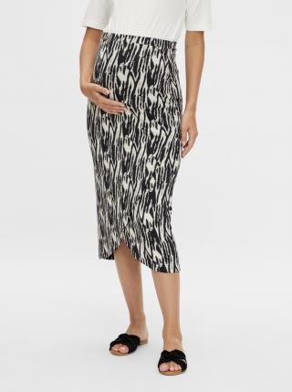 Krémovo-čierna tehotenská vzorovaná sukňa Mama.licious Sebra dámské S