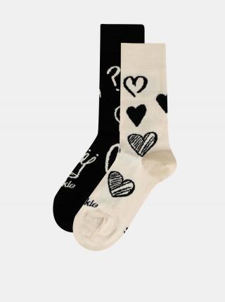 Krémovo-čierne vzorované ponožky Fusakle Symbol dámské čierna 43-46