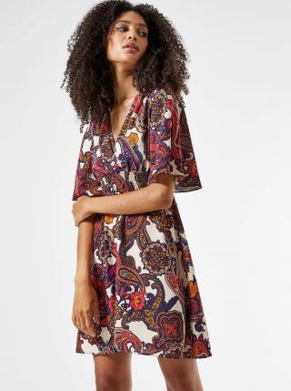 Krémovo-vínové vzorované šaty Dorothy Perkins dámské vínová XL