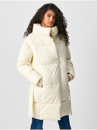 Krémový dámsky prešívaný zimný kabát Pepe Jeans Dora dámské krémová XS