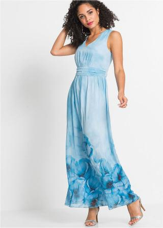 Kvetované letné šaty dámské modrá 36,38,40,42,44,46,48