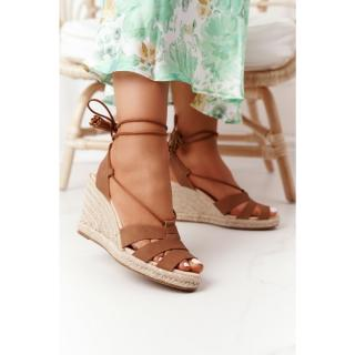 Lace-up Braided Wedge Sandals Big Star AA274591 Brown dámské Other 39