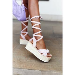 Lace-up Sandals On A Braided Platform Purple La Palma dámské Other 40