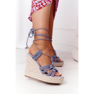 Lace-up Wedge Sandals With Braids Light Blue Run The World dámské Other 38