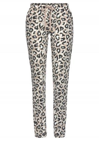 LASCANA Pyžamové nohavice  čierna / biela / pastelovo oranžová dámské L