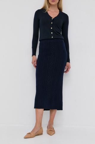 Lauren Ralph Lauren - Vlnená sukňa dámské tmavomodrá XS