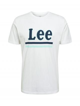 Lee Tričko  biela / námornícka modrá / mätová pánské S