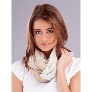 Light beige women´s scarf with colorful patterns dámské Neurčeno One size