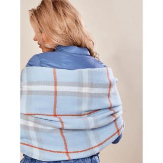 Light blue checked scarf with fringes dámské Neurčeno One size