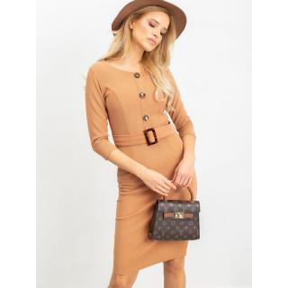 Light brown dress with a belt dámské Neurčeno S