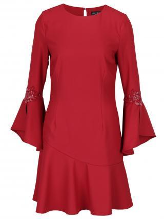 Little Mistress červené šaty s volánovými rukávmi a s výšivkami - XS dámské červená XS
