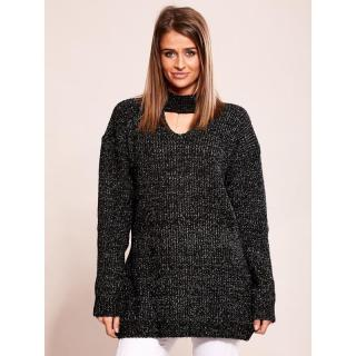 Long black sweater with a choker dámské Neurčeno One size