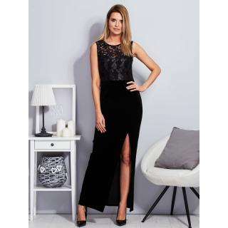 Long black velor dress with a slit dámské Neurčeno 36