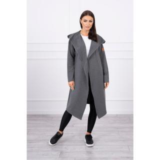 Long cardigan with hood graphite dámské Neurčeno One size