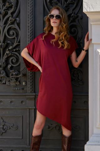 Makadamia Womans Dress L10 Maroon dámské Red 36