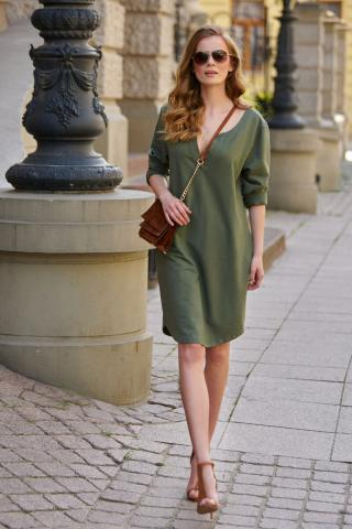 Makadamia Womans Dress L11 Khaki dámské Green 36