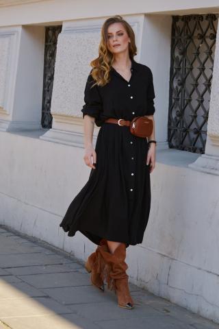 Makadamia Womans Dress L9 dámské Black One size