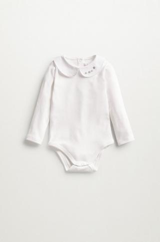 Mango Kids - Body pre bábätká Pol 62-80 cm biela 62
