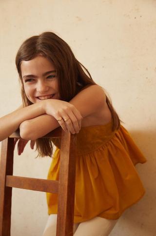 Mango Kids - Detská bavlnená blúzka Maya 110-152 cm žltá 116