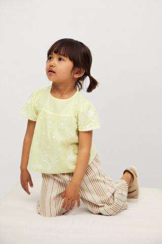 Mango Kids - Detská bavlnená blúzka Santas 80-110 cm žltá 104