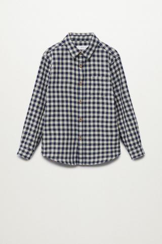 Mango Kids - Detská bavlnená košeľa Double 110-164 cm tmavomodrá 116