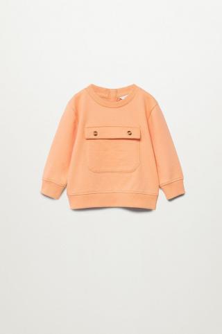 Mango Kids - Detská bavlnená mikina Paulo 80-104 cm oranžová 104