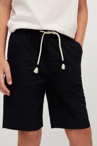 Mango Kids - Detské krátke nohavice Oli 110-164 cm čierna 116