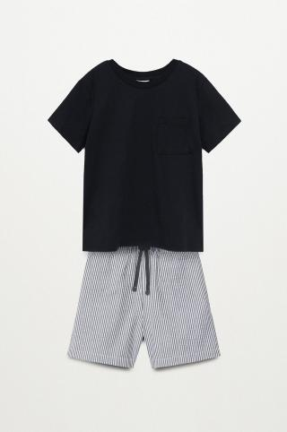 Mango Kids - Detské pyžamo Orson 116-164 cm čierna 116
