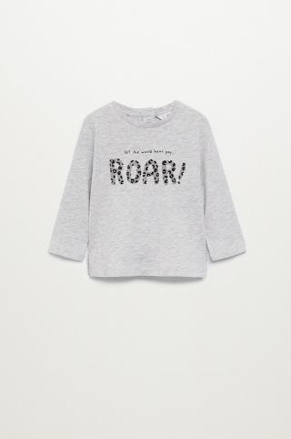 Mango Kids - Detské tričko s dlhým rukávom ROAR sivá 104