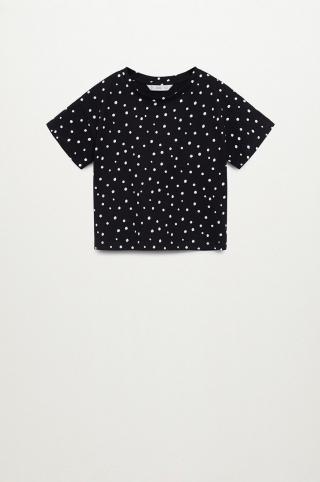 Mango Kids - Detské tričko Stamp 110-164 cm čierna 140