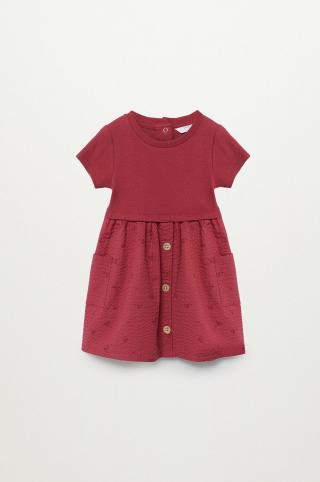 Mango Kids - Dievčenské šaty Berta 80-104 cm burgundské 98
