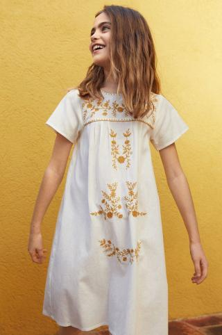 Mango Kids - Dievčenské šaty Mexican 110-164 cm biela 128
