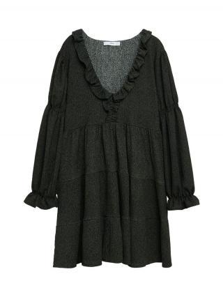 MANGO Šaty Lala  kaki / čierna dámské 36