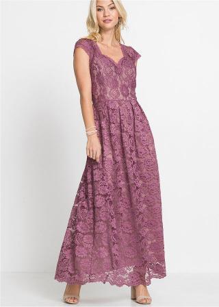 Maxi šaty s čipkou dámské ružová 36,38,40,42,44,46,48