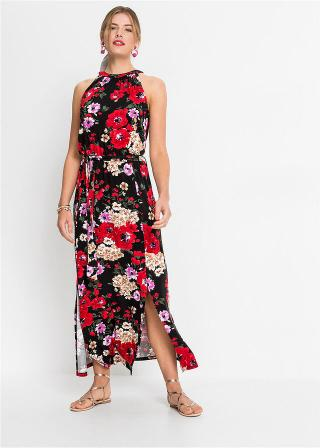 Maxi šaty s kvetovanou potlačou dámské čierna 32/34,36/38,40/42,44/46