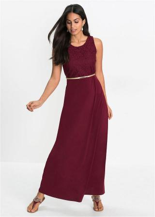 Maxi šaty s opaskom dámské červená 34,36,38,40,42,44,46,48,50,52