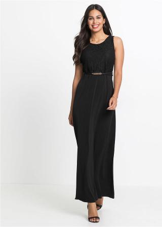 Maxi šaty s opaskom dámské čierna 34,36,38,40,42,44,46,48,50,52