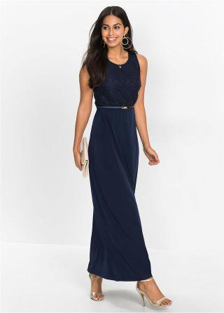 Maxi šaty s opaskom dámské modrá 34,36,38,40,42,44,46,48,50,52