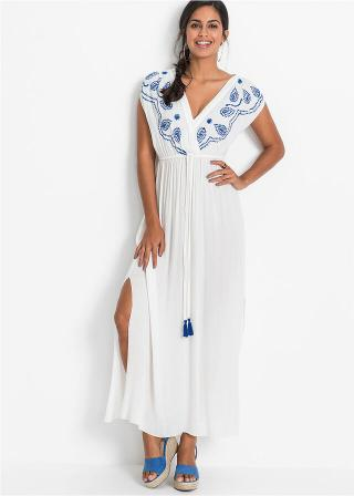 Maxi šaty s vyšívkou dámské biela 42,36,38,40,44,46,48,50,52,54