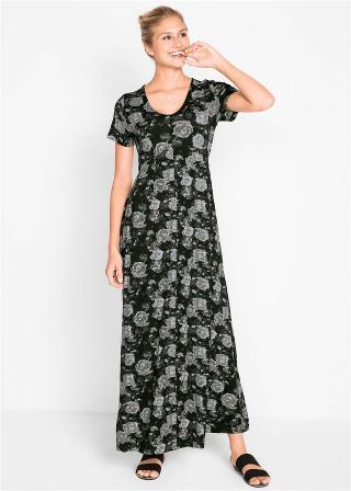 Maxi úpletové šaty, krátky rukáv dámské čierna 36/38,40/42,44/46,48/50,52/54,56/58